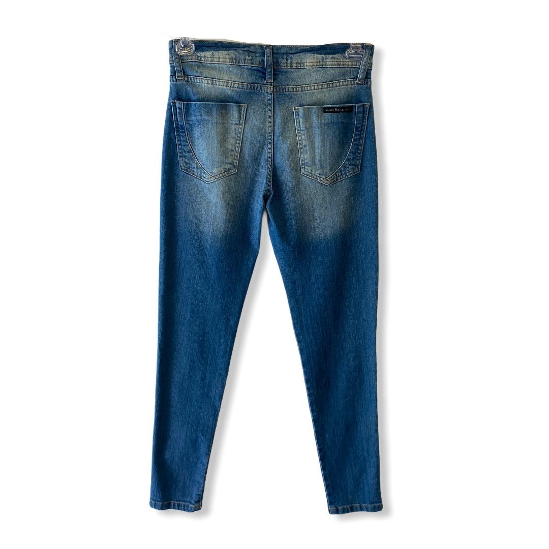 Calça Jeans Skinny blue jeans estonado  - Vivian Bógus