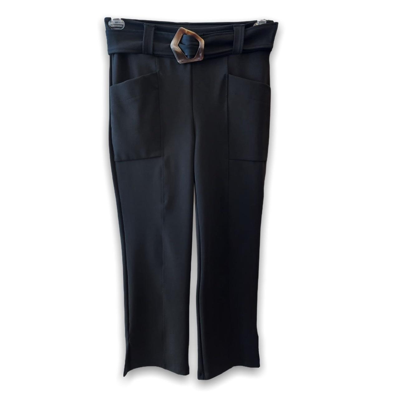 Calça pantacourt com cinto em gorgorão  preto