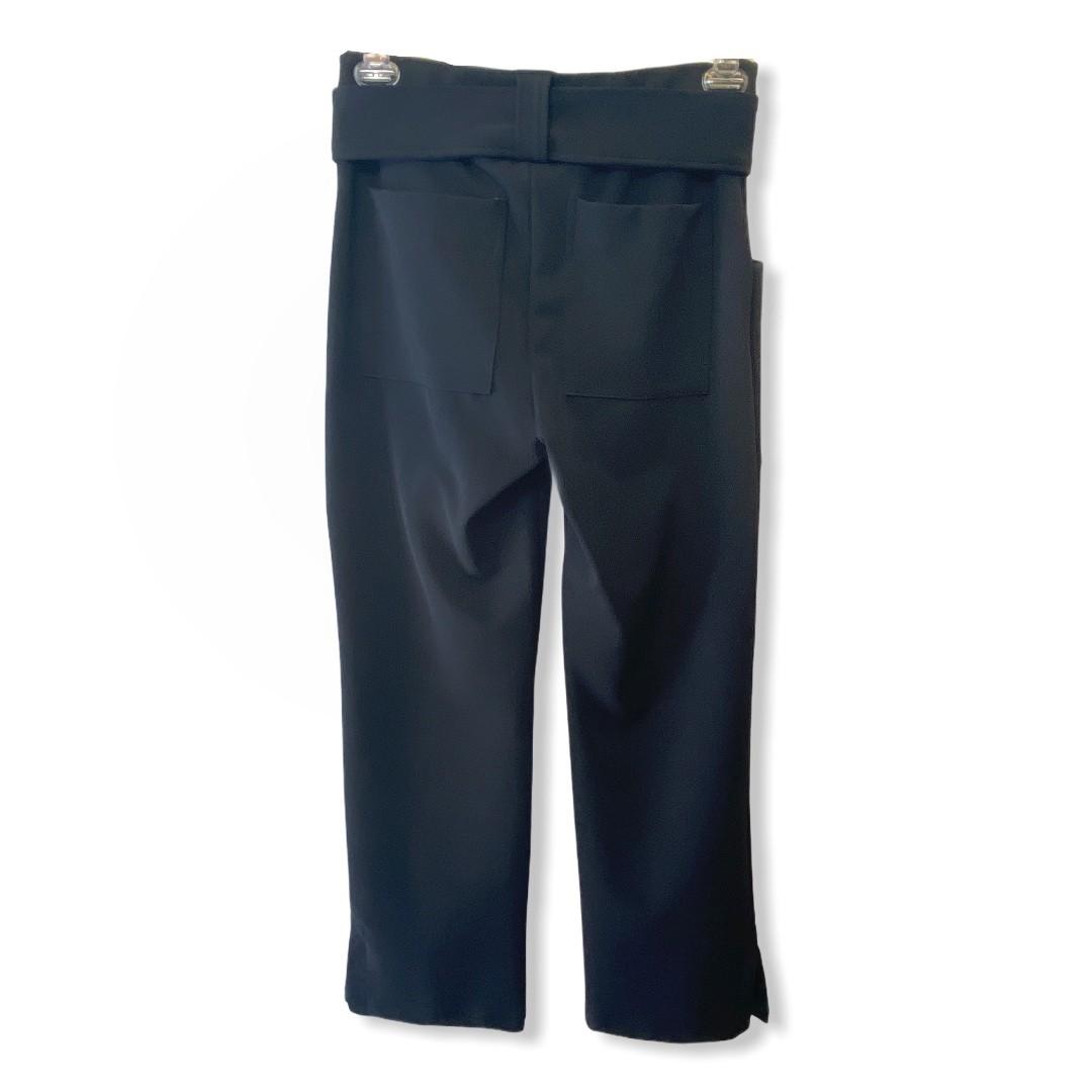Calça pantacourt com cinto em gorgorão  preto  - Vivian Bógus