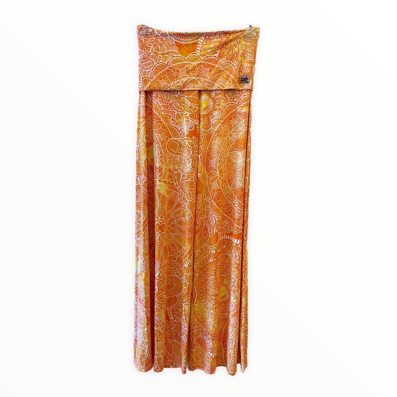 Calça pantalona em malha fria estampa laranja