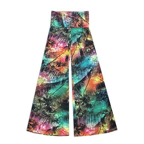 Calça pantalona em malha fria estampa natureza  - Vivian Bógus