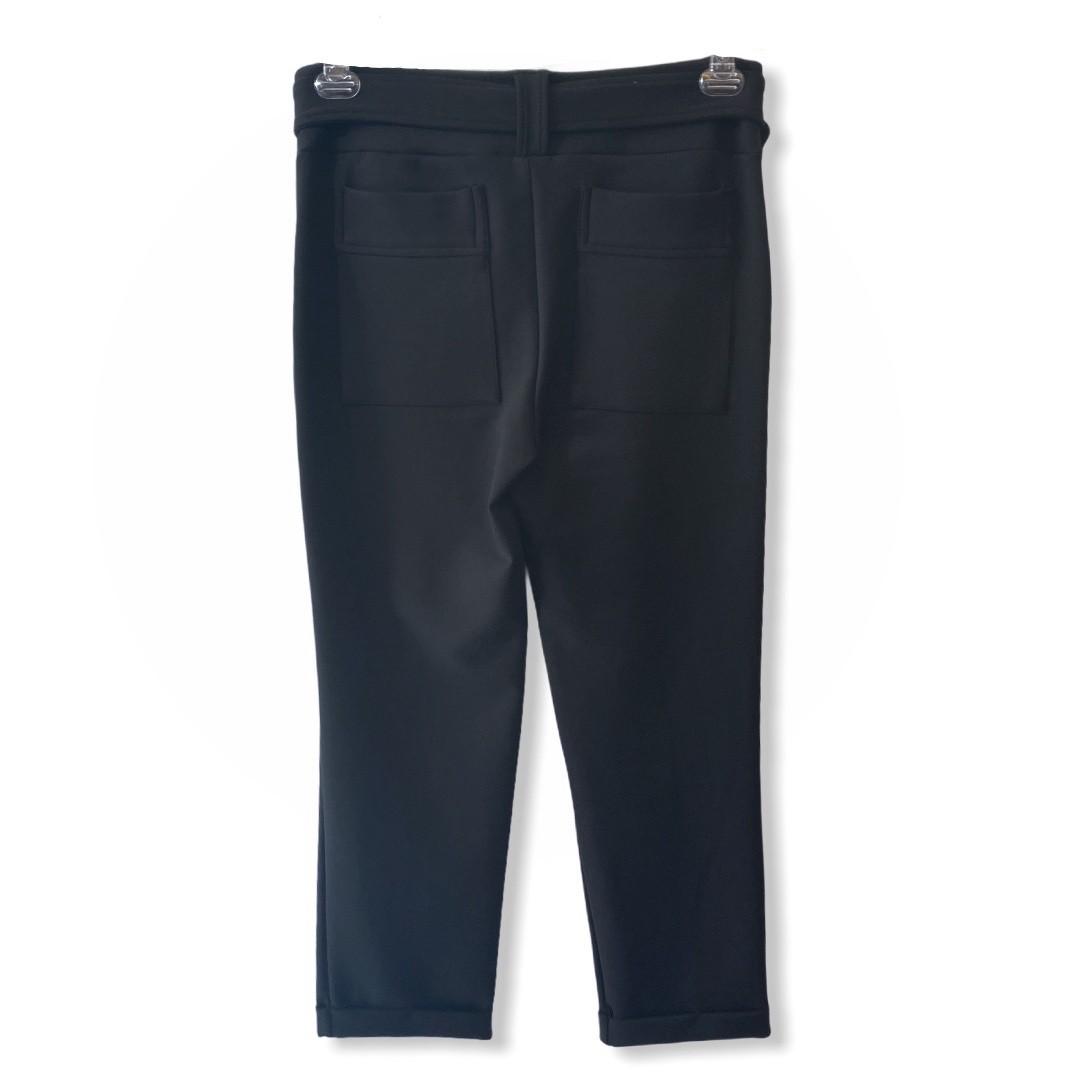 Calça sequinha com cinto em neoprene preto  - Vivian Bógus