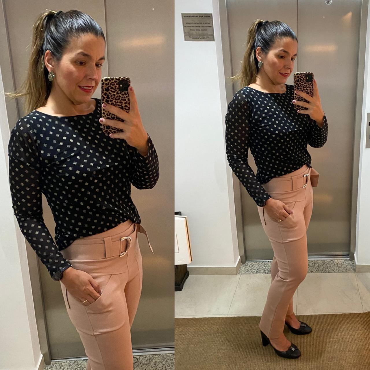 Calça sequinha em Radiosa Plus Rosê  - Vivian Bógus