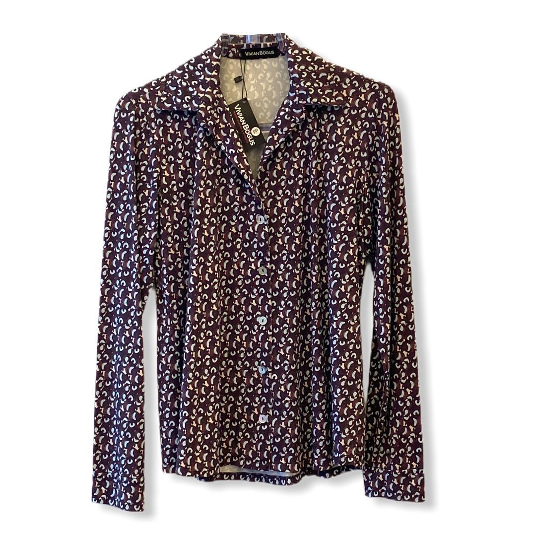 Camisa em malha fria estampada marrom
