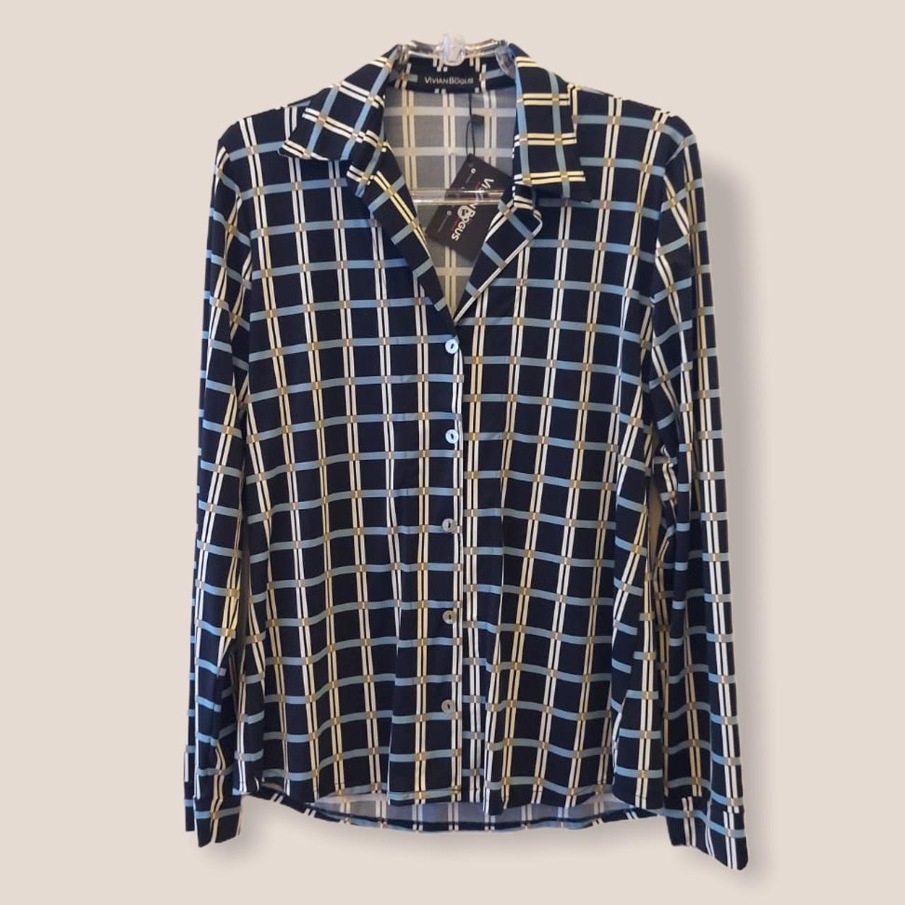 Camisa em malha fria estampada xadrez  - Vivian Bógus
