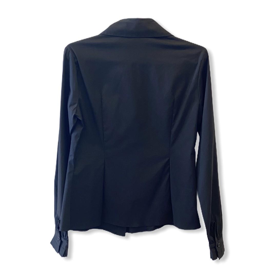 Camisa tricoline preta punho pregas  - Vivian Bógus