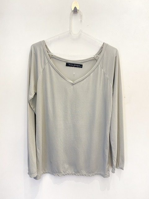 Camiseta decote V manga longa cinza secagem rápida