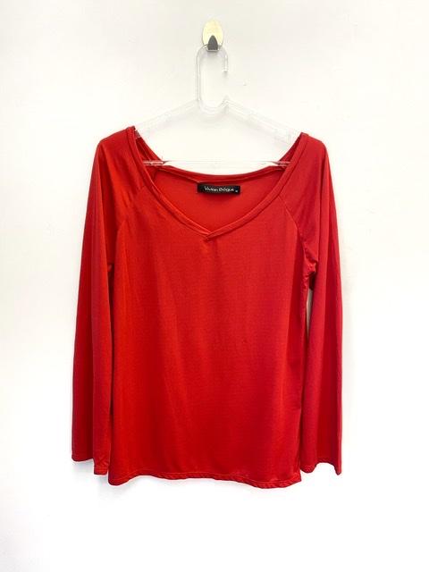 Camiseta decote V manga longa vermelha secagem rápida  - Vivian Bógus
