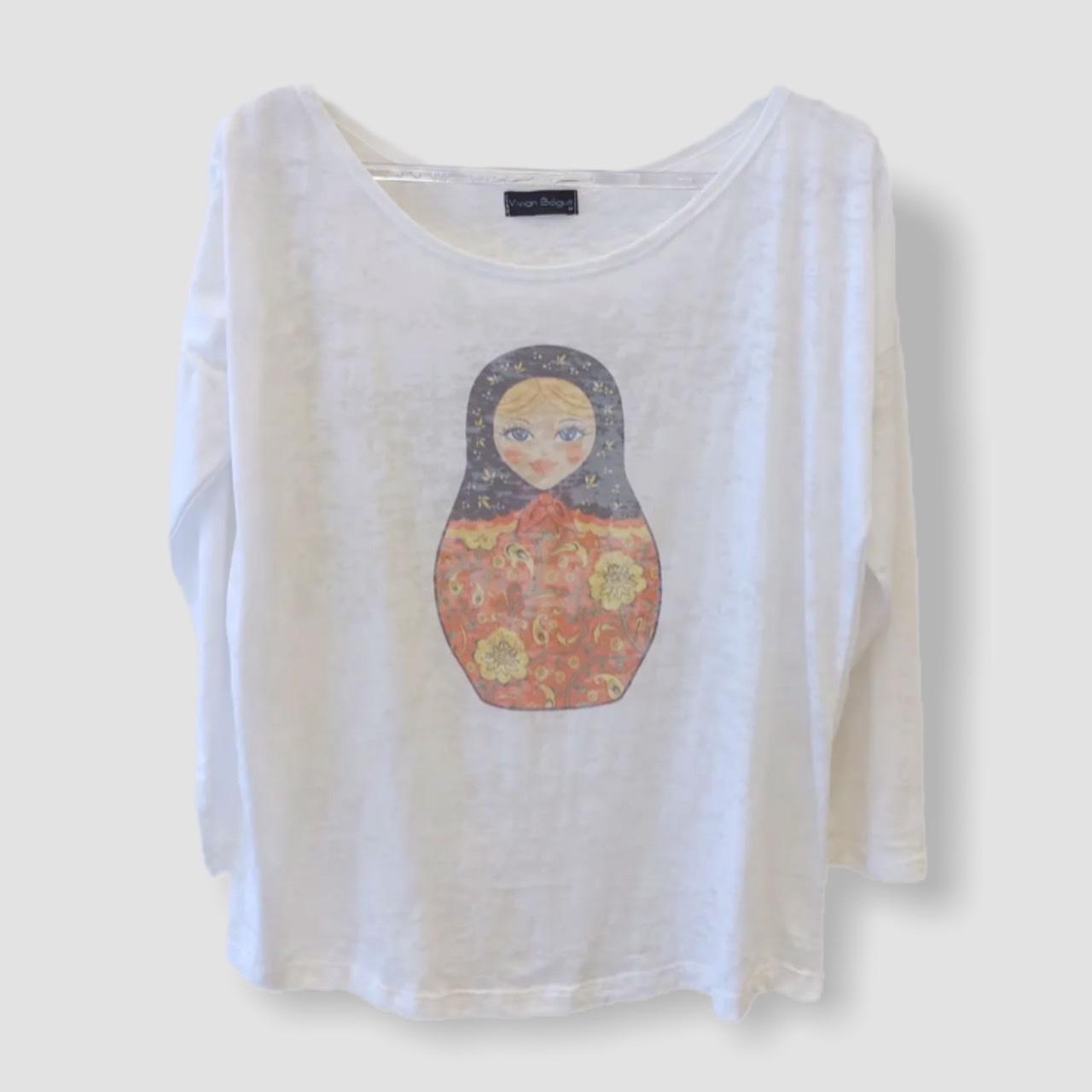 Camiseta devorê manga longa matrioska  - Vivian Bógus