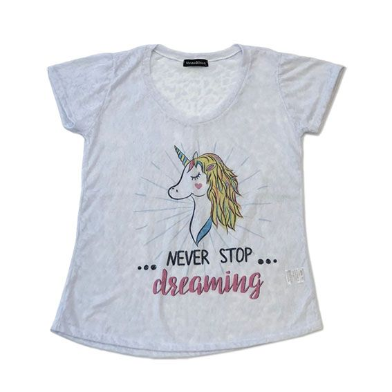 Camiseta devorê unicórnio - Never stop dreaming