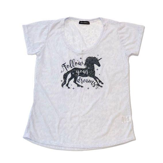 Camiseta devorê unicórnio - Follow your dreams  - Vivian Bógus