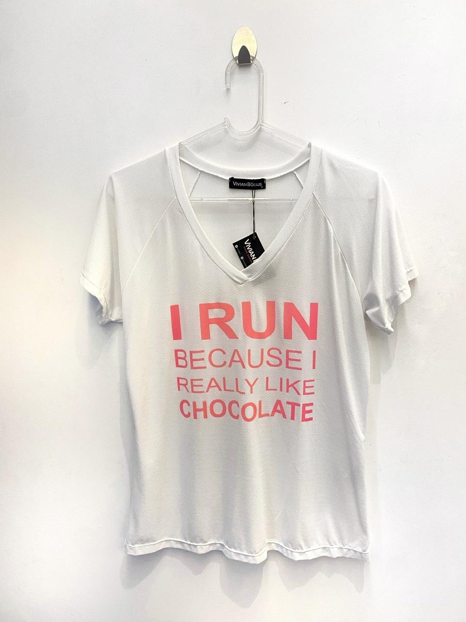 Camiseta poliamida estampa chocolate  - Vivian Bógus