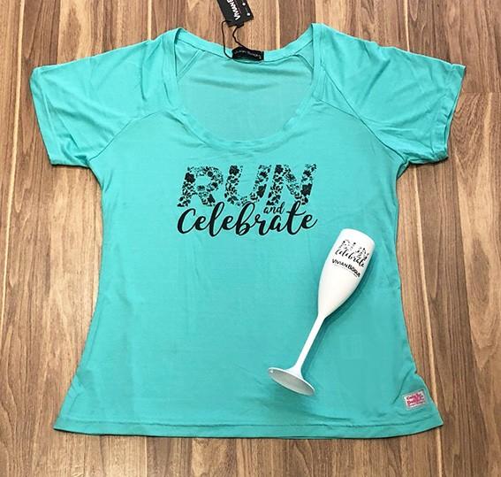 Camiseta Run & Celebrate verde