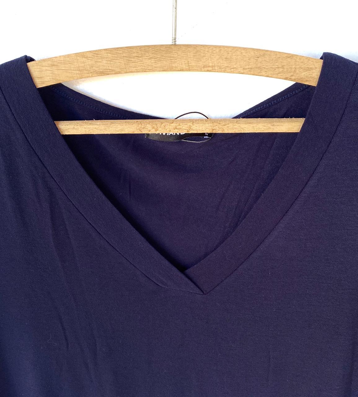 Camiseta V azul marinho  - Vivian Bógus