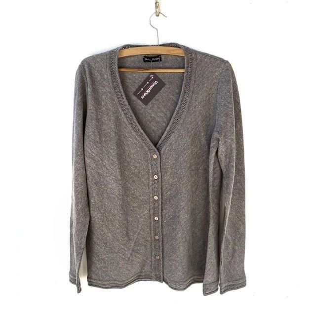 Cardigan em tricô cinza  - Vivian Bógus