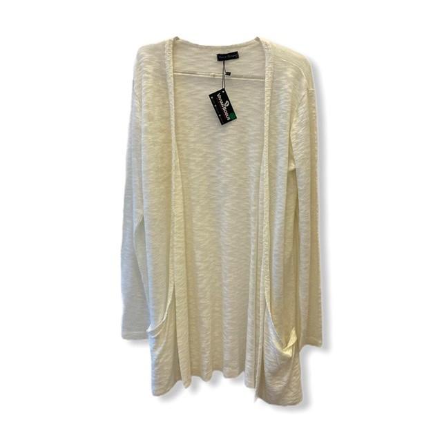 Cardigan longo com bolsos em tricô off white  - Vivian Bógus