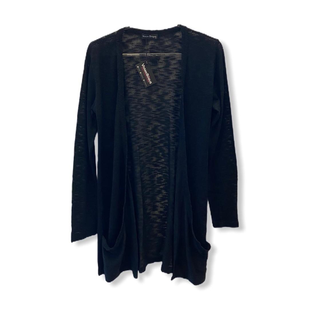 Cardigan longo com bolsos em tricô preto  - Vivian Bógus