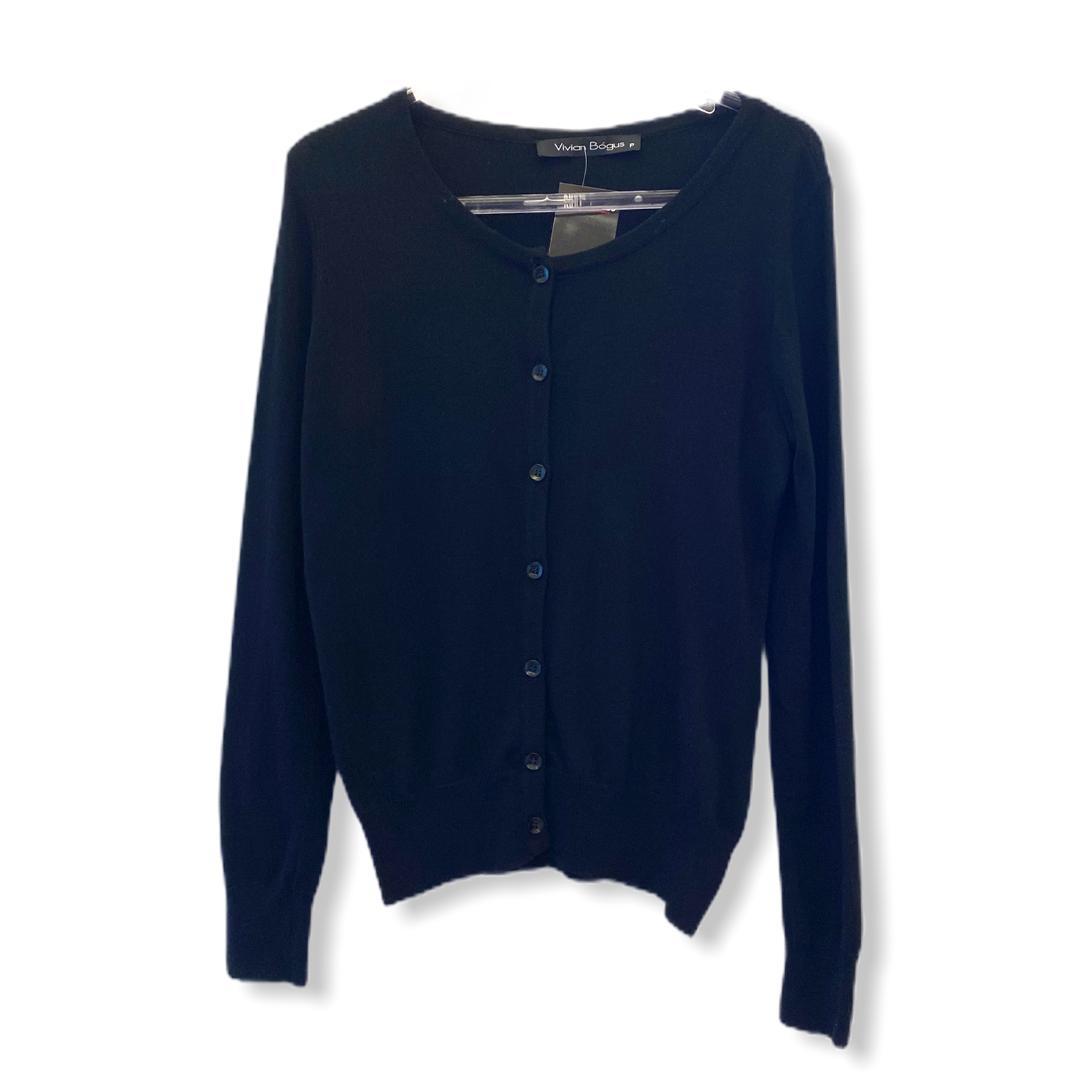 Casaco tricô básiquinho com botões preto   - Vivian Bógus