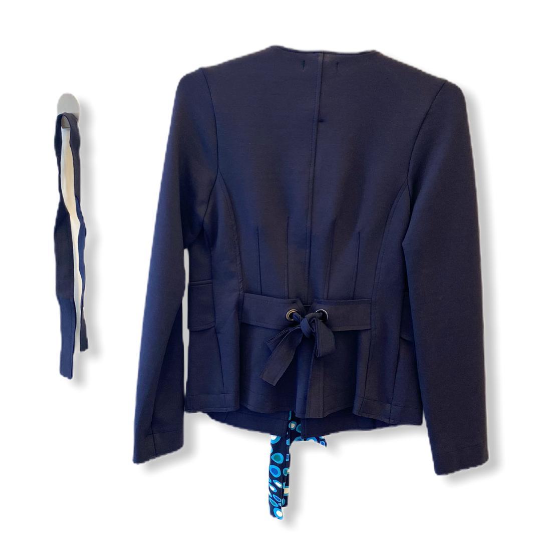 Casaqueto com ilhos e faixas azul marinho  - Vivian Bógus