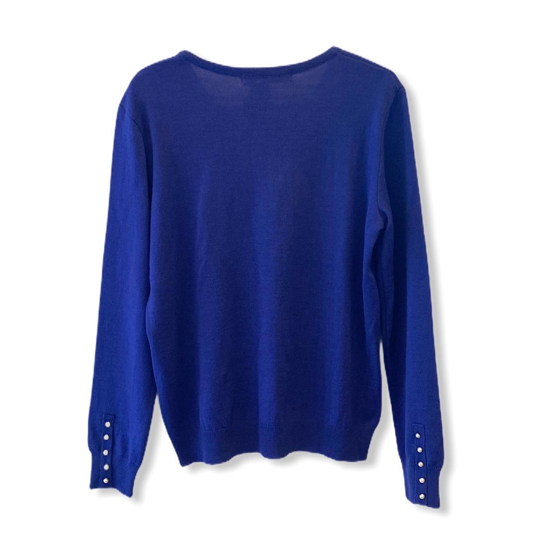 Casaquinho tricô azul com detalhe pérolas   - Vivian Bógus