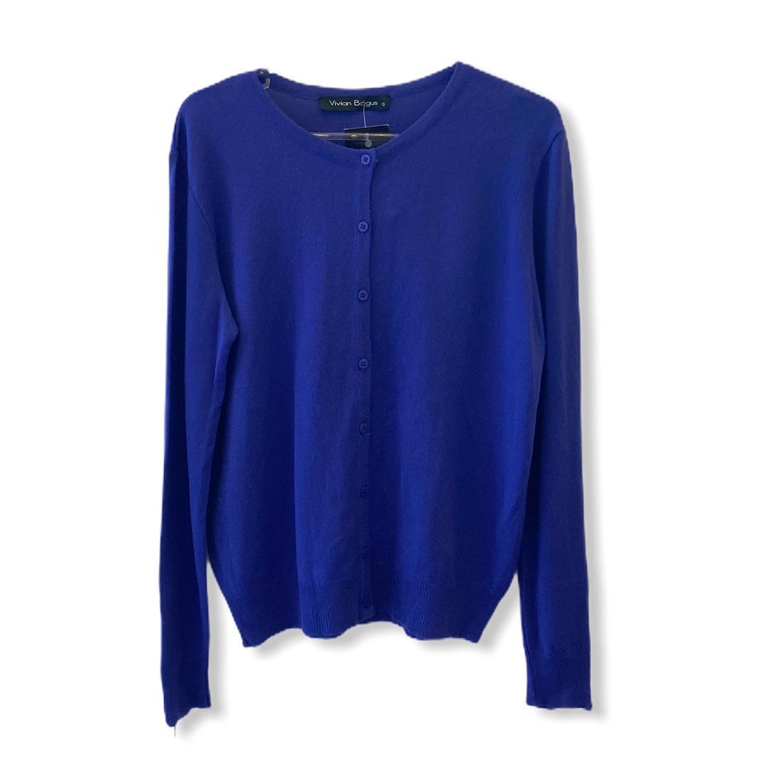Casaquinho tricô azul ziper nos punhos  - Vivian Bógus