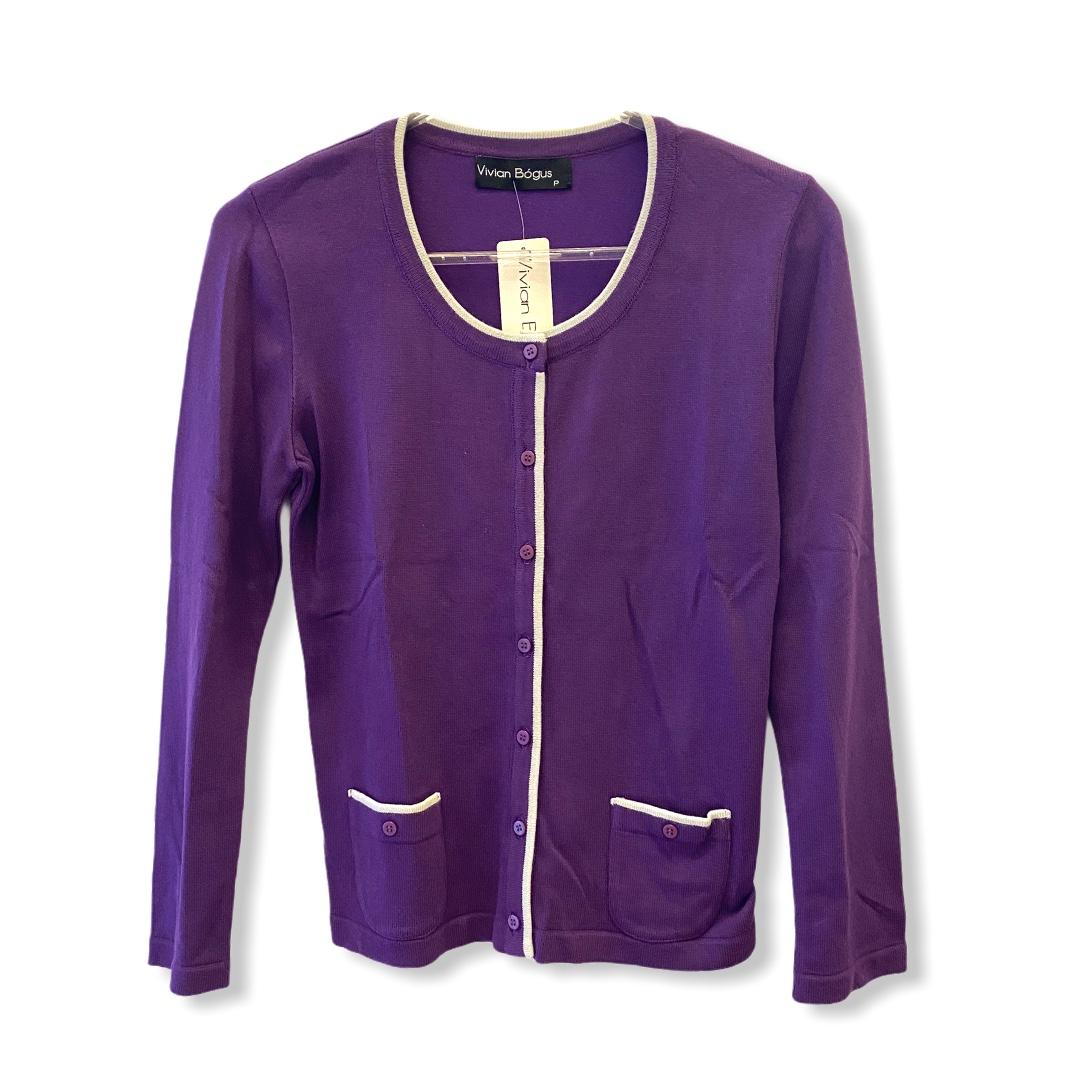 Casaquinho tricô roxo com friso cinza  - Vivian Bógus