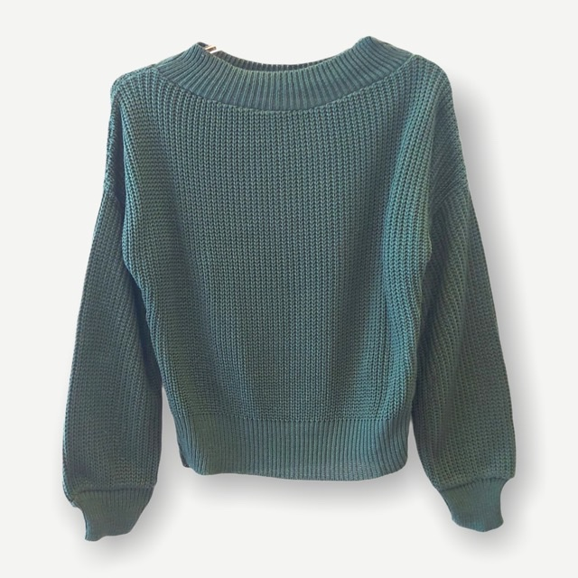 Blusa Juliana verde tricot    - Vivian Bógus