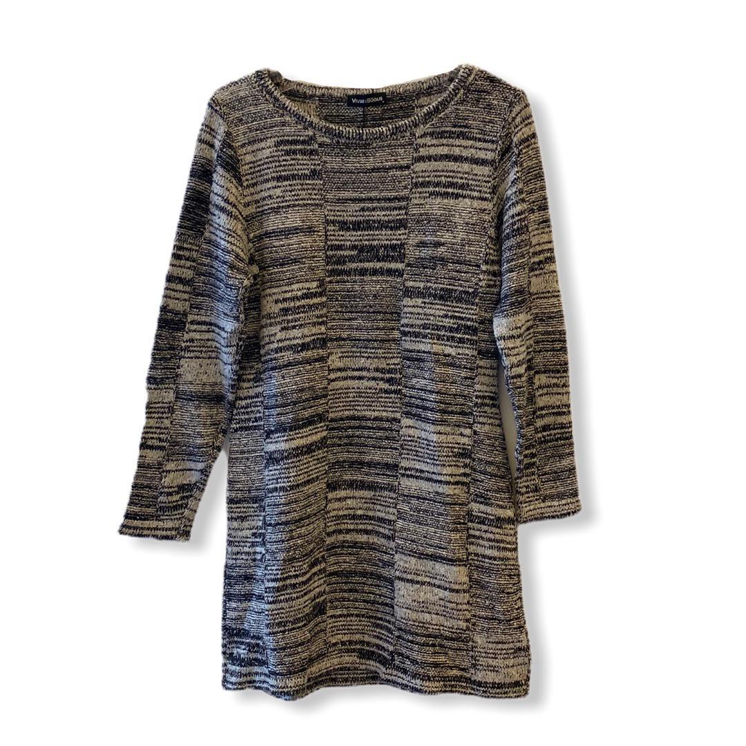 Vestido em tricô cinza mesclado  - Vivian Bógus