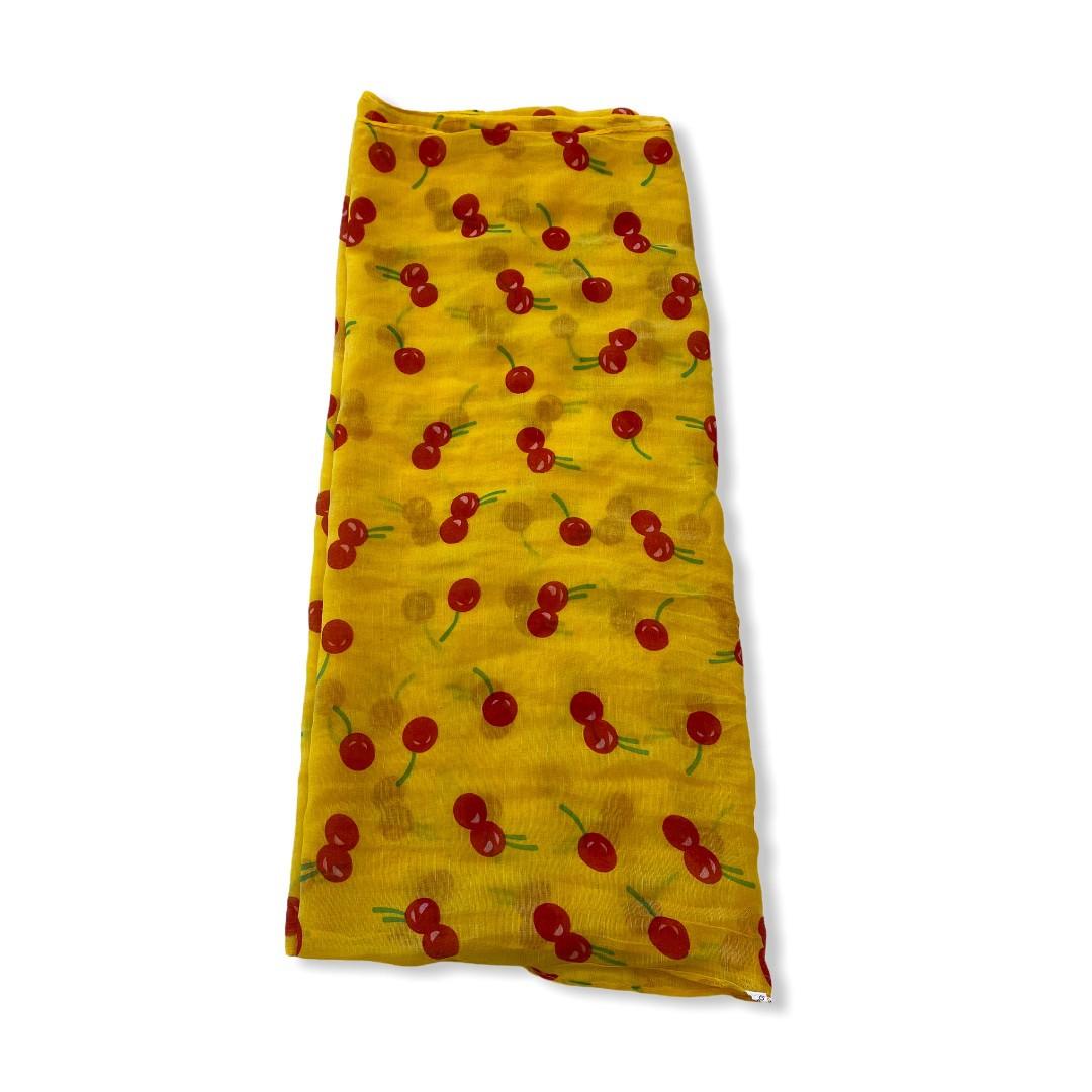Echarpe amarela estampa cerejas  - Vivian Bógus