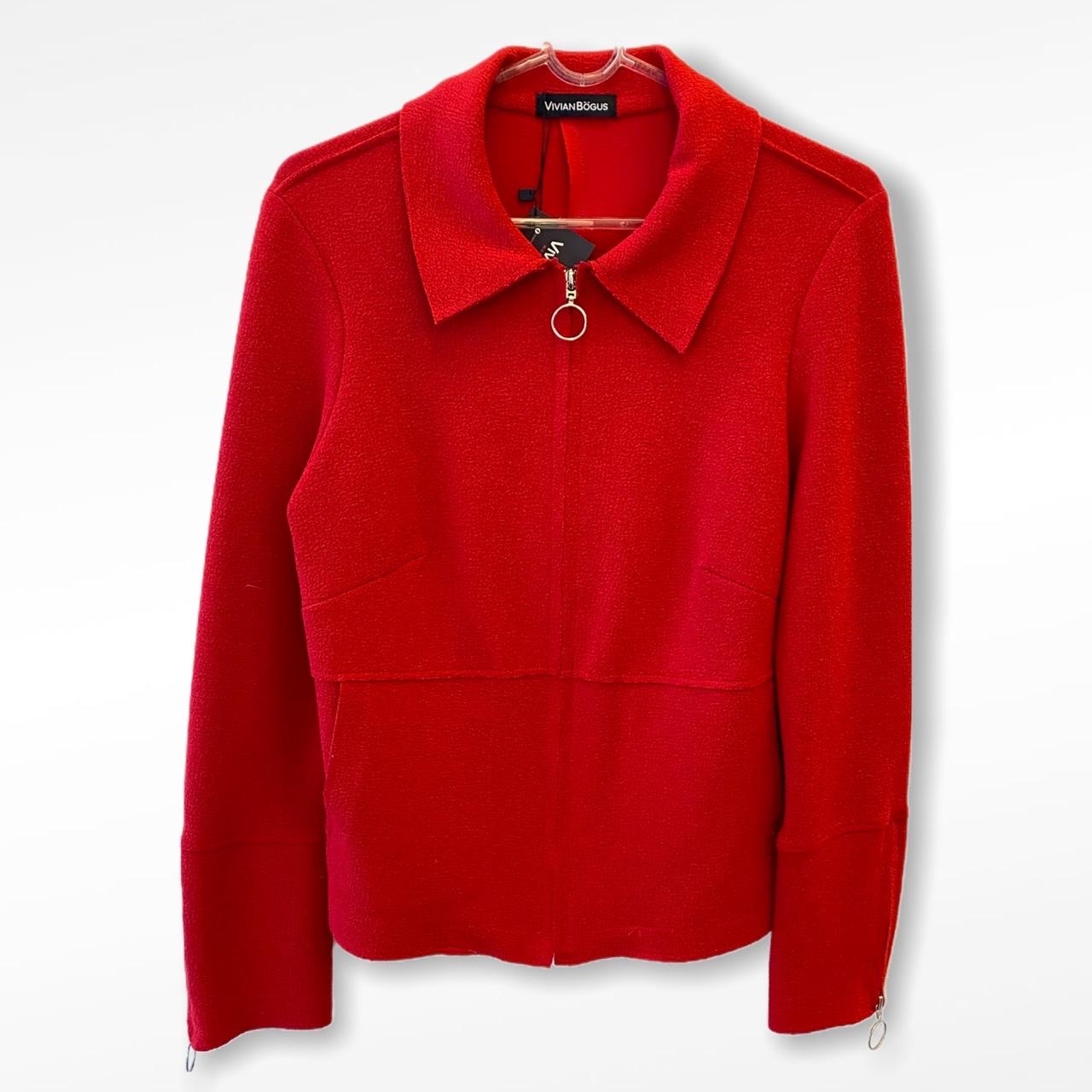 Jaqueta em buclê vermelha com zíper  - Vivian Bógus