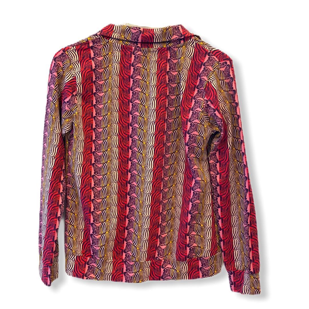 Jaqueta em malha estampada com ziper   - Vivian Bógus