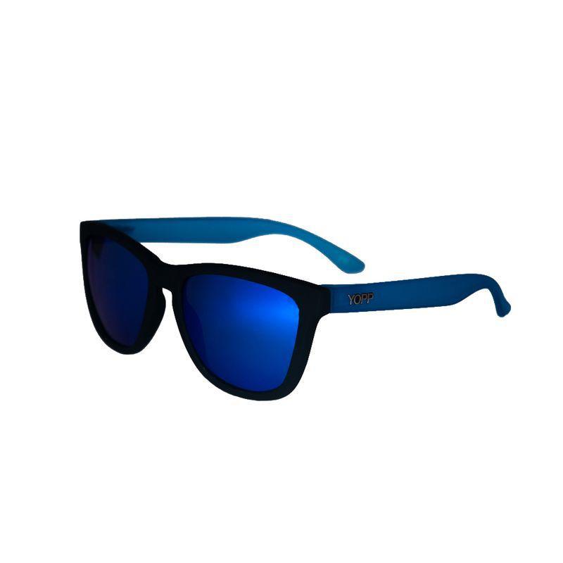 Óculos YOPP preto com haste azul e lente espelhada   - Vivian Bógus