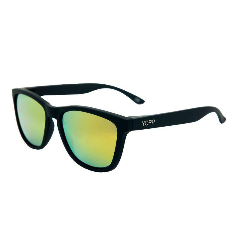 Óculos YOPP preto com lente espelhada amarela