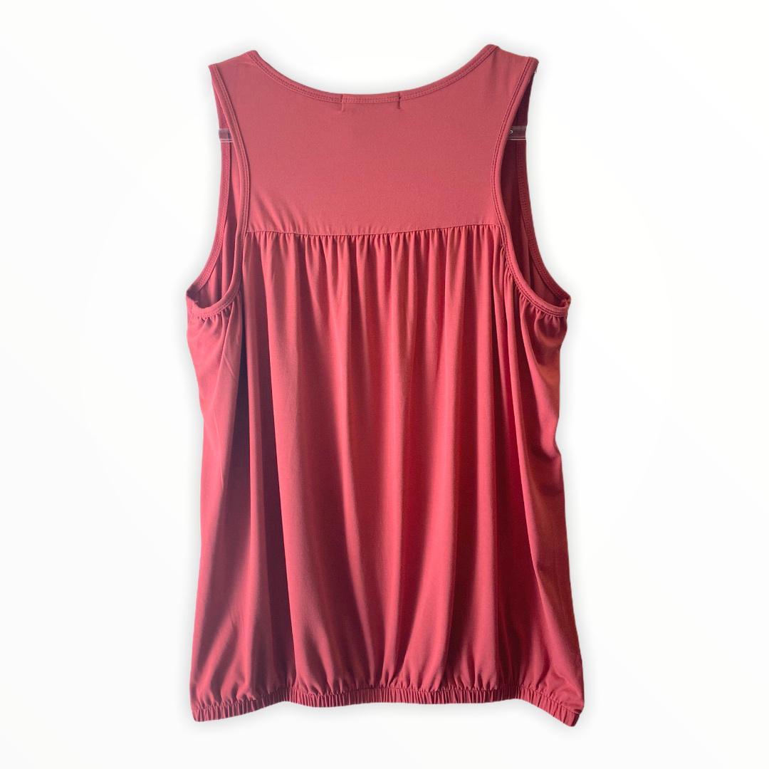 Regata blusê com elástico na barra cor goiaba