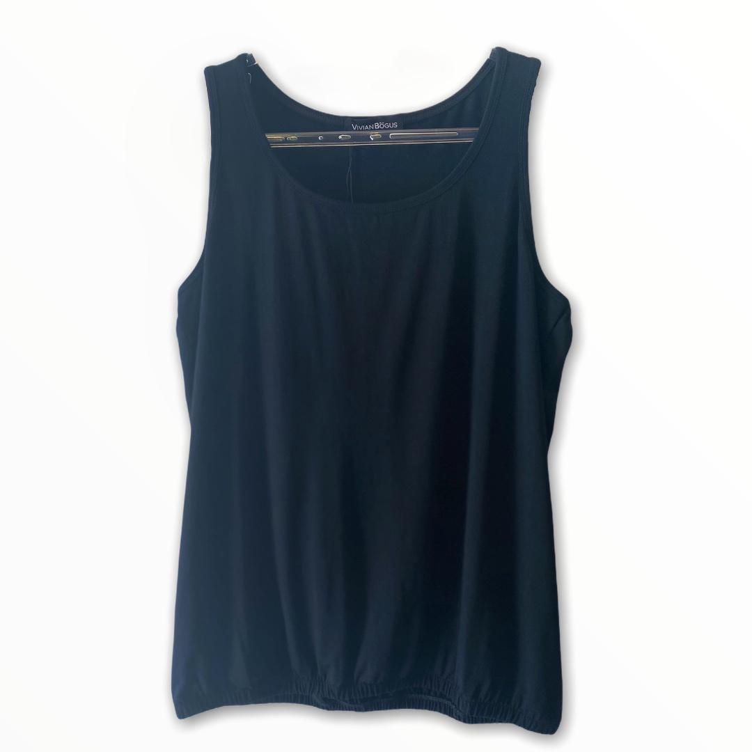 Regata blusê com elástico na barra cor preta  - Vivian Bógus