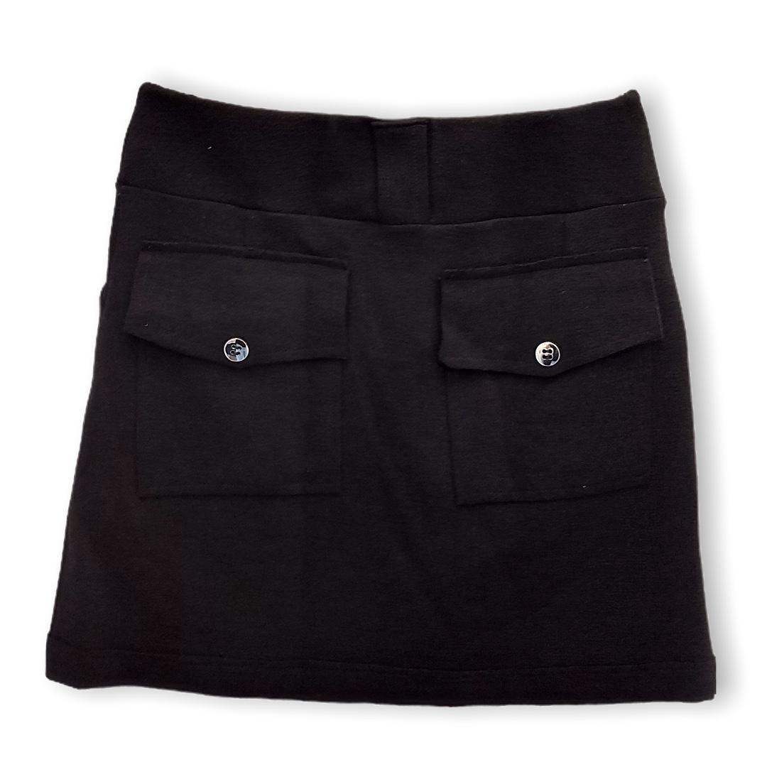 Saia buclê preta com bolsos  - Vivian Bógus