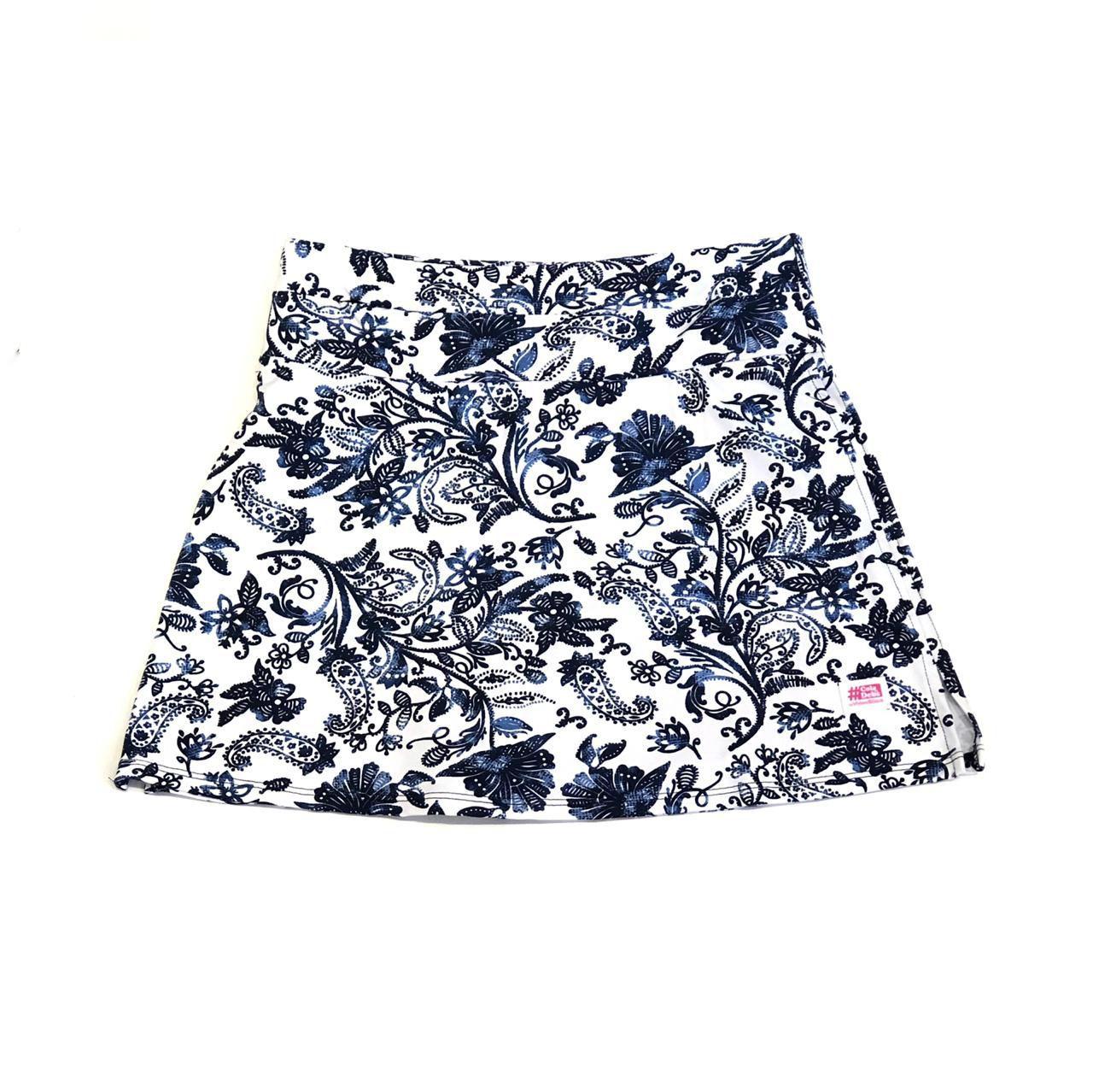Saia Fitness 1500 bolsos estampa Floral Azul e Branco