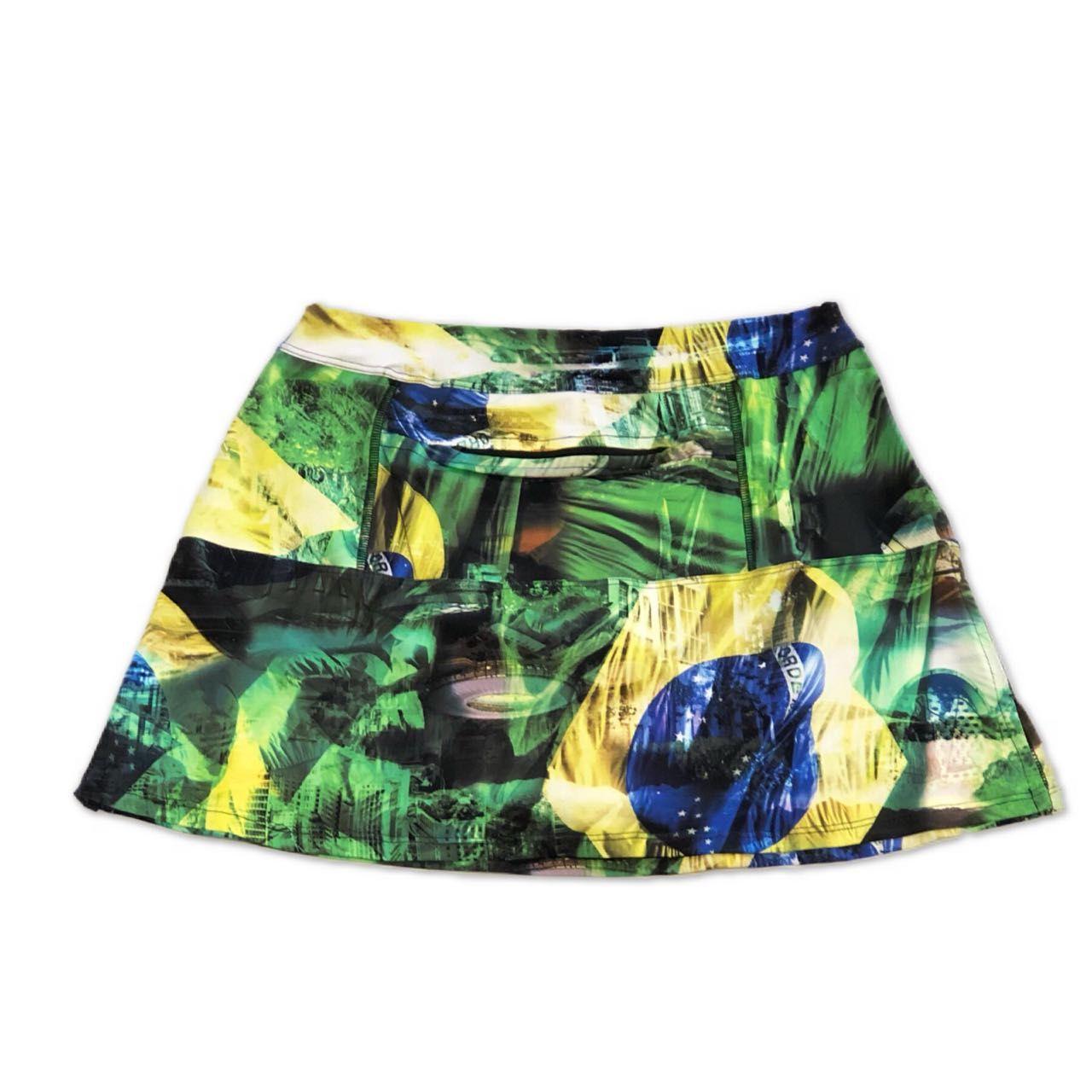 Saia fitness bolso ziper estampa Brasil (3 bolsos)