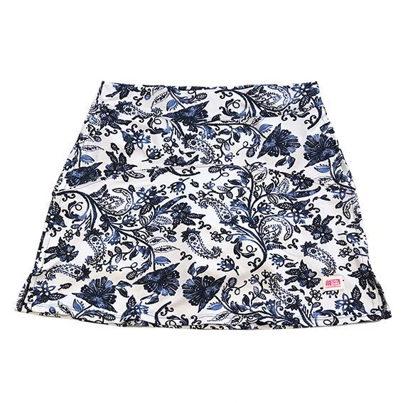 Saia fitness mil bolsos estampa Floral Azul  (5 bolsos)  - Vivian Bógus