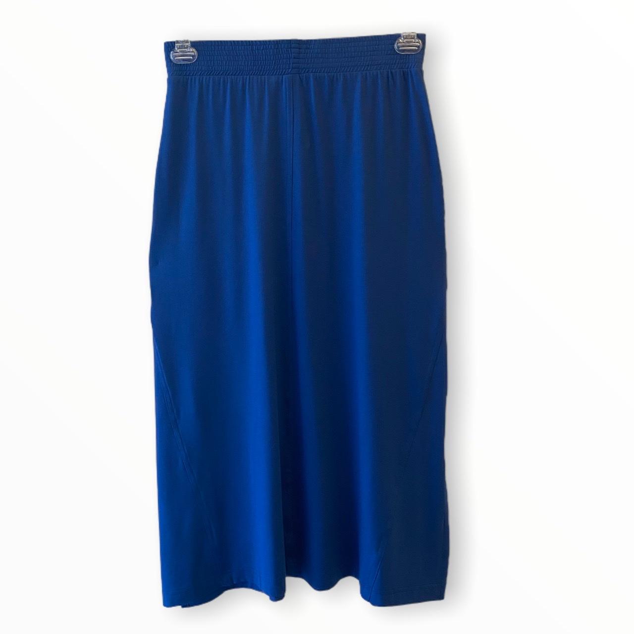 Saia Midi Luana com fendas laterais azul