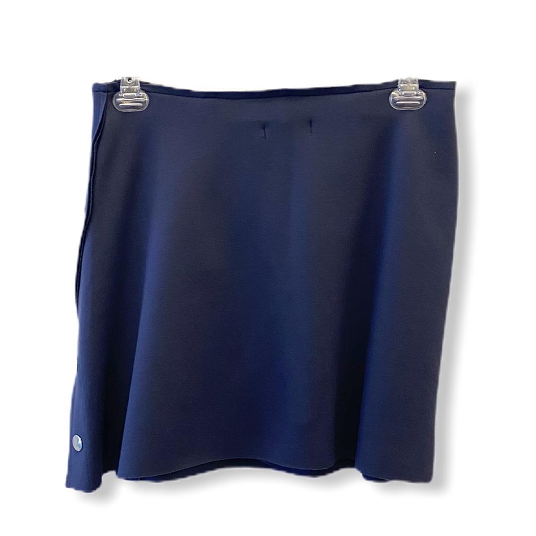 Saia-shorts em neoprene azul marinho com botões metal  - Vivian Bógus