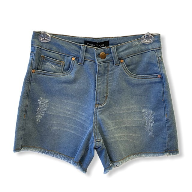 Short Jeans claro em moletom  - Vivian Bógus
