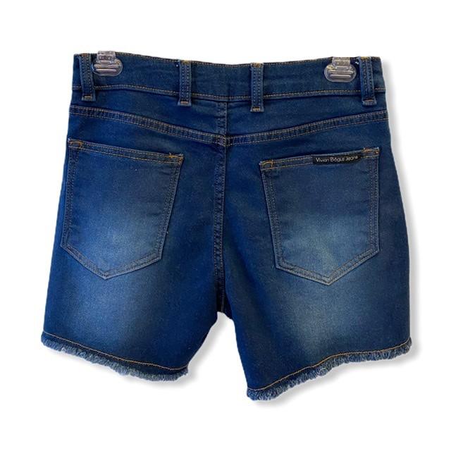 Short Jeans escuro em moletom  - Vivian Bógus