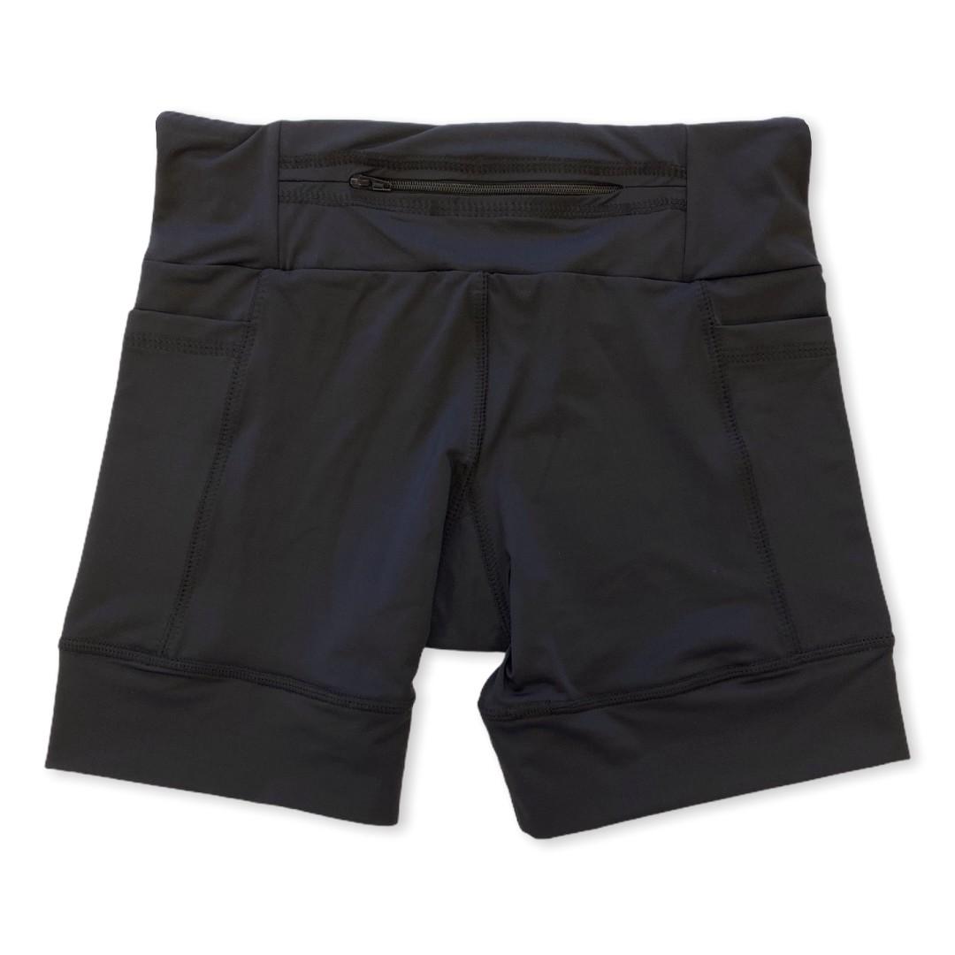 Shorts com bolso secreto em sportiva preto  - Vivian Bógus