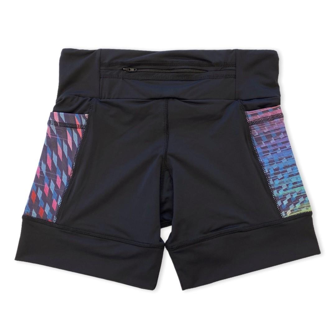 Shorts com bolso secreto em sportiva preto bolso colorido  - Vivian Bógus