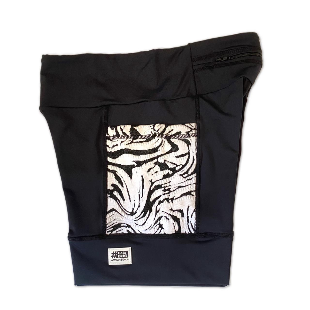 Shorts com bolso secreto em sportiva preto bolso jacquard pb  - Vivian Bógus
