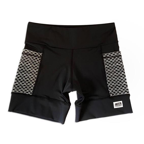 Shorts com bolso secreto em sportiva preto bolso telinha cinza  - Vivian Bógus