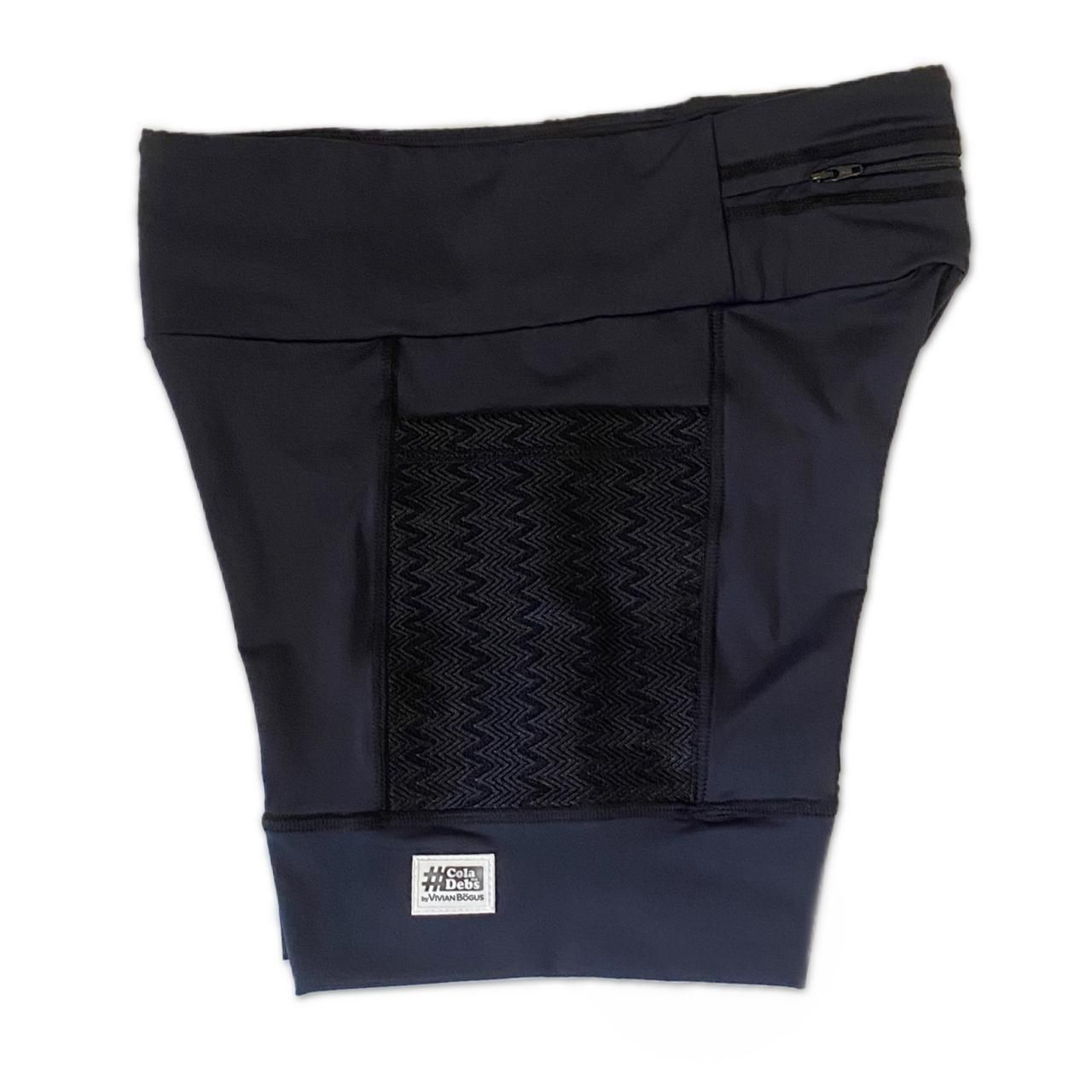 Shorts com bolso secreto em sportiva preto bolso textura preto  - Vivian Bógus