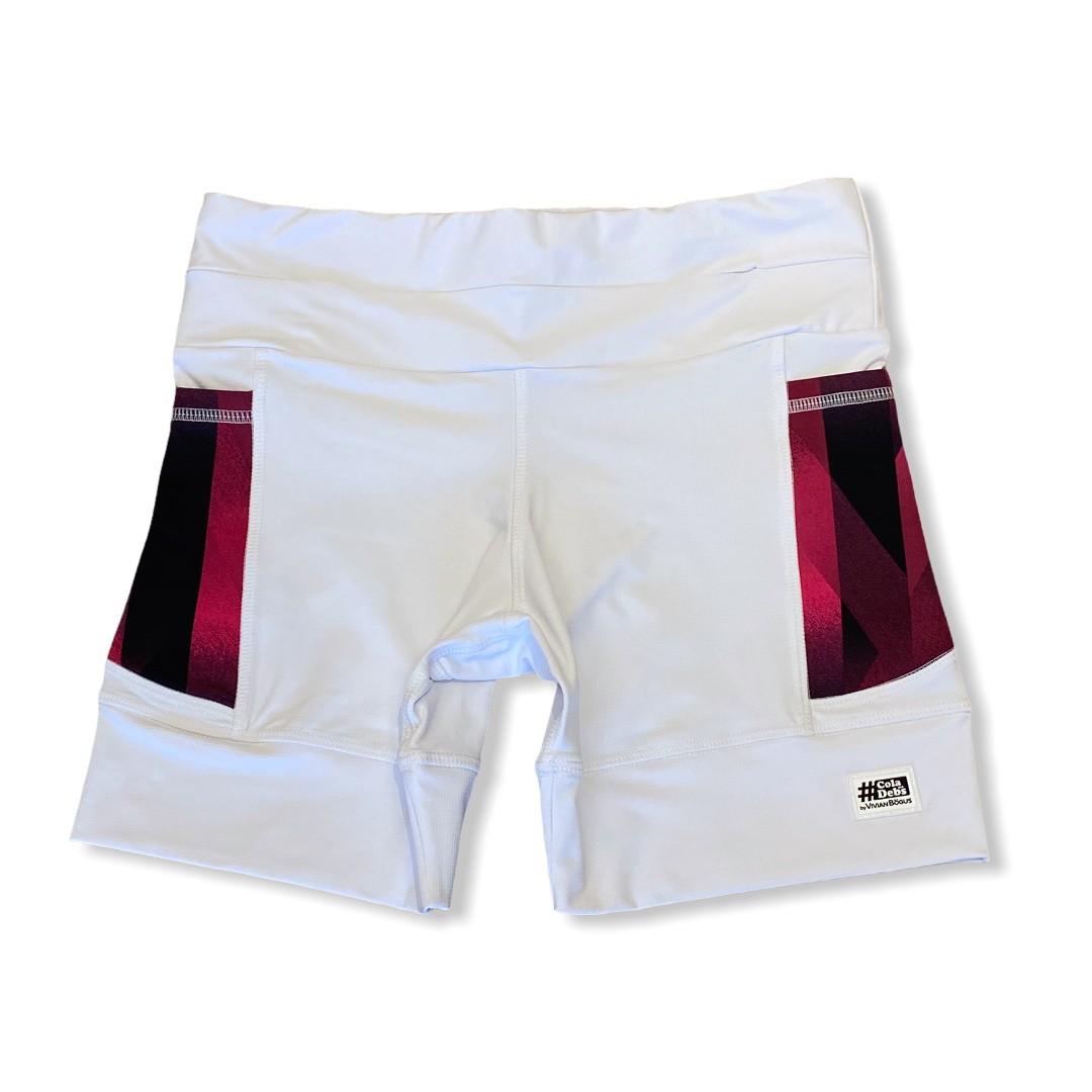 Shorts de compressão 1500 bolsos em compress branco bolsos estampa cherry  - Vivian Bógus