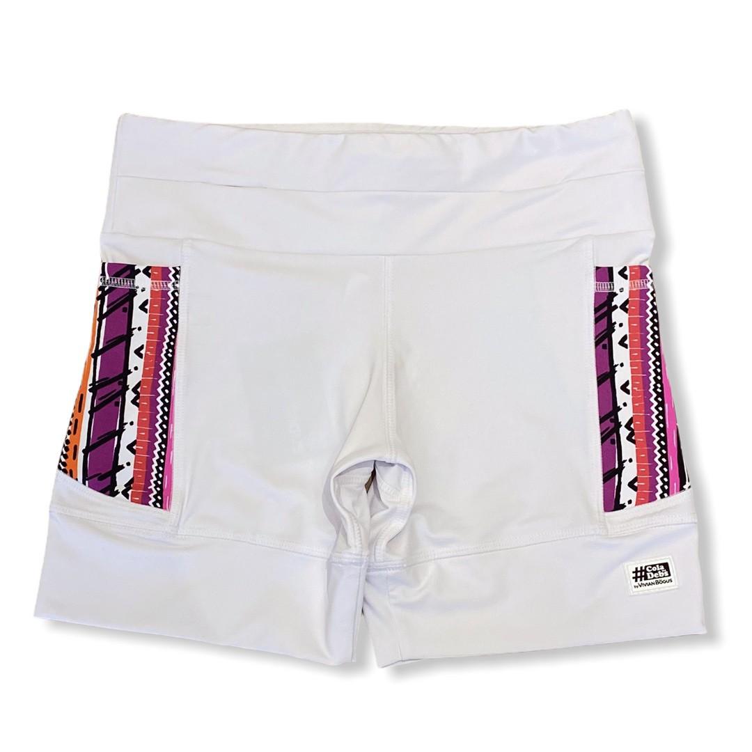 Shorts de compressão 1500 bolsos em compress branco bolsos estampa tribal  - Vivian Bógus
